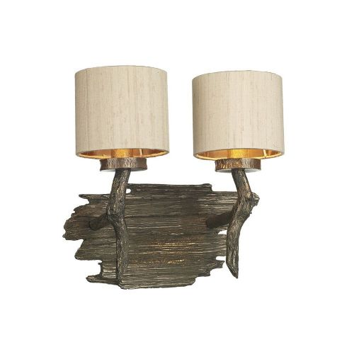 Joshua Double Wall Bracket Bronze complete with Taupe Silk Shade, JOS0901 (7-10 day Delivery)
